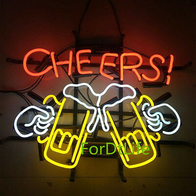 """17""""x14"""" CHEERS BEER BAR REAL GLASS NEON LIGHT SIGN STORE ADVERTISING WALL DECOR"""