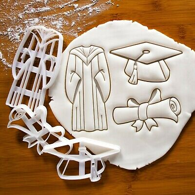 Set of 3 Graduation Congratulatory Cookie Cutters - Gown, Scroll, & Mortarboard