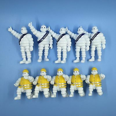 Lot Of 10 Blue And Yellow Michelin Man Bibendum PVC MINI Figure 7CM HIGH