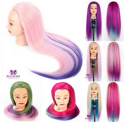 Salon Hairdressing Color Long Hair Mannequin Doll Training Practice Head + Clamp