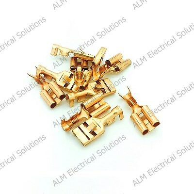 9.5mm Brass Female Spade Lucar Connectors x 100 - Non-Insulated Terminals