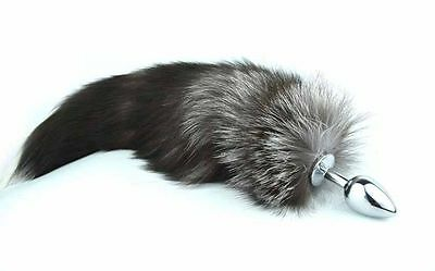 Sex Toy Funny Love Grey Faux Fox Tail Butt Anal Plug Sexy Romance Games
