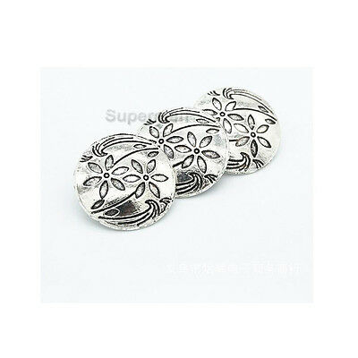 10pcs Silver Flower Metal Round Shank Button Sewing Craft Embellishment 17mm DIY