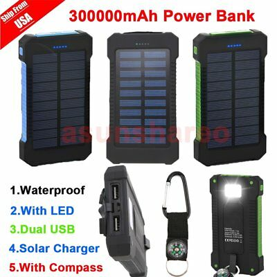 300000mAh Dual USB Portable Solar Battery Charger Waterproof Solar Power Bank US