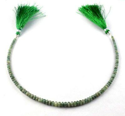 "Lovely Natural Green Cats Eye Rondelle 3-5mm 10.5"" Long Smooth Gemstone Beads"