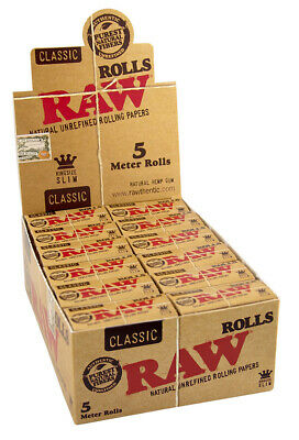 1 Box (24x) RAW Classic Rolls Slim 5m Länge unbleached Papers ungebleicht