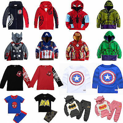 Kids Boys Superhero Costume Hooded Sweatshirt Jumper T-Shirt Coat Outfits 2-8 Y