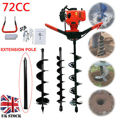72cc Petrol Earth Auger 4HP Post Hole Borer Ground Drill with 3 Bits + Extension