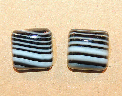 Black and White Agate 12x12mm with 5mm dome Cabochons Set of 2 (12334)