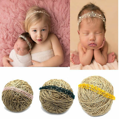 Baby Newborn Soft Mohair Pearl Headband Headwear Hair Band Photography Props
