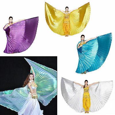 New Shimmer Belly Dance Wings Costume Shining ISIS WINGS Dance Wear Solid Colors