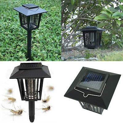 NEW Solar Powered LED Light Mosquito Pest Bug Insect Zapper Lamp Garden Lawn UK