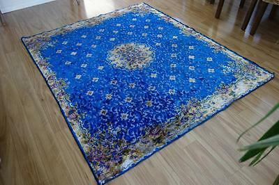 Stunning Blue Florals Italian Velvet Vintage Rug ~ So French Apartment