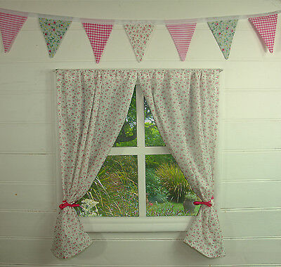 Girls Playhouse Curtains ~ White Rose ~ Includes Fittings