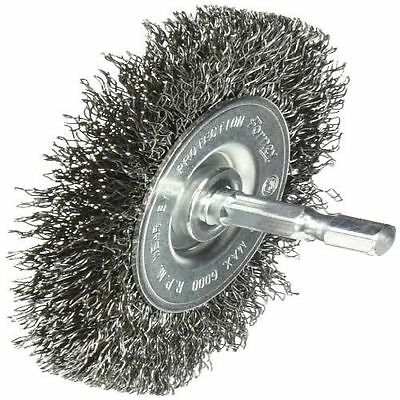 """Forney 72735 Wire Wheel Brush Coarse Crimped with 1/4"""" Hex Shank 3"""" x 0.012"""" NEW"""
