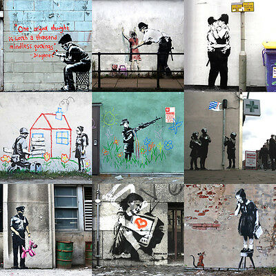 Banksy Collage Canvas Print Wall Art - Ready to Hang! 80 x 80cm