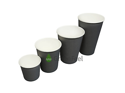 8oz/12oz Disposable Coffee Paper Cups GREY Single Wall Cold/Hot Drinks &SIP LIDS