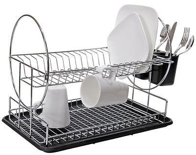 Zuhause - Double Decker Dishrack with Tray and Cutlery Holder 48.5x32.3x33cm