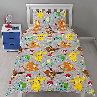 Repeat Pattern Design Pokemon Go Catch Dovet And Pillow Cover Single Bed Set