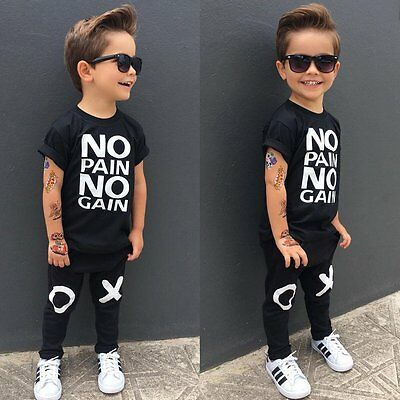 2pcs Toddler Kids Baby Boys Summer Clothes T-shirt Tops+Long Pants Outfits Set