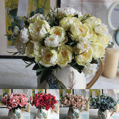 5Heads Artificial Silk Fake False Flowers Peony Home Wedding Bouquet Party Decor