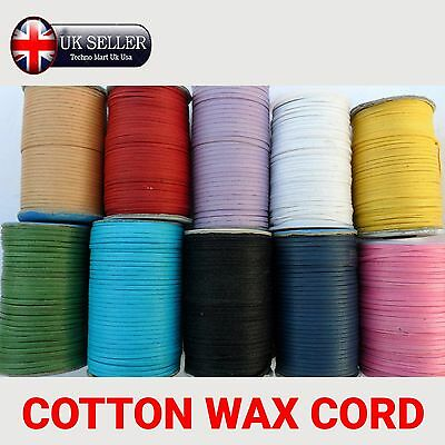 3mm FLAT Waxed COLOR Cotton Cord Making Jewellery String Thread Findings Crafts