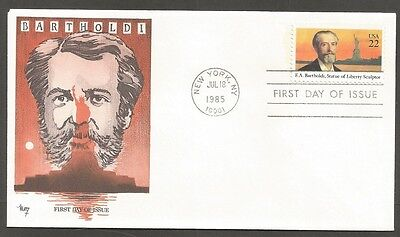 Us Fdc 1985 F.a. Bartholdi 22C Stamp Marg Cachet First Day Of Issue Cover