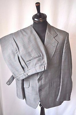 "Vintage 1970's large collar green 2 piece window check suit size 38"" Waist 32"""