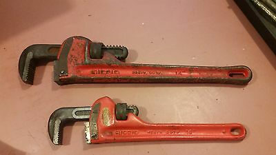 """Vintage Ridgid 14"""" & 10"""" Heavy Duty Pipe Wrenchs 2"""" & 1.5"""" Jaw Drop Forged USA"""