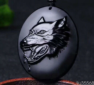 Beautiful Hand-carved Natural black Obsidian Wolf pendant Luck Charm Necklace