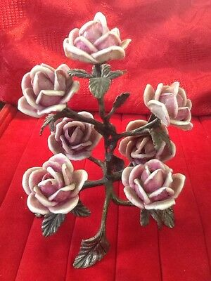 Large Silver Centerpiece With Ceramic Roses Italy 1960-70