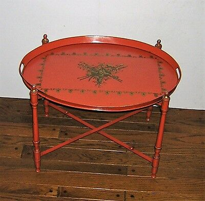 Vintage Butler Tray Side Table Folding Serving Stand Italian Metal Toleware