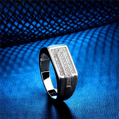 Size U Mens Created Diamond Micro Pave Signet Style Ring 925 Silver Plated