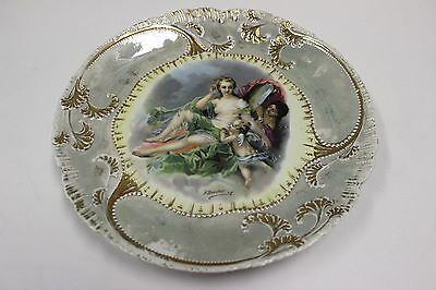 """GERMANY  ANTIQUE PORTRAIT WALL / CABINET PLATE CHARGER 10"""" Beehive Mark"""