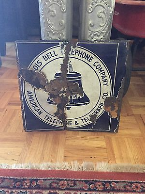 Illinois Bell Telephone Company Porcelain Flange Sign Roached Attitude