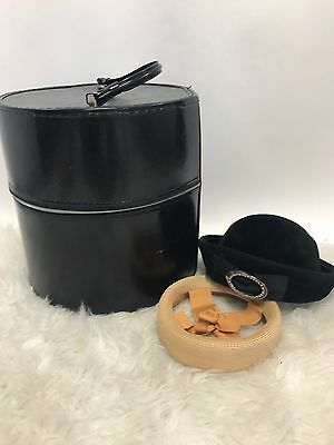 Vintage Mid Century Black Vinyl Hat Wig Milliners Box Travel Train Case and Hats