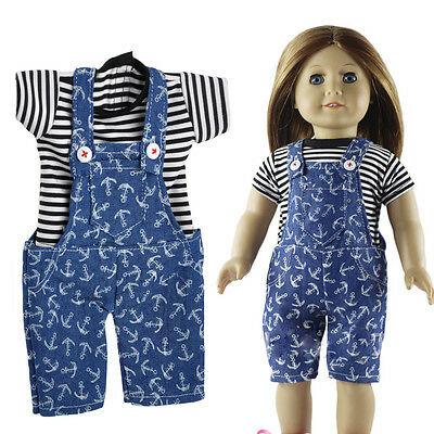 "Mini Casual Stripe Clothes T-shirt&Jumpsuits Pants fit 18"" American Girl Dolls"