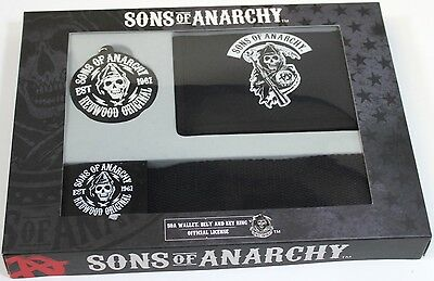 Official License Sons of Anarchy SOA Wallet Belt and Key Ring Gift Set