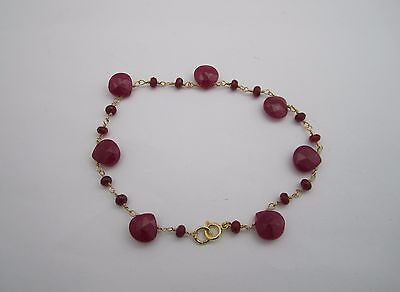 18K Gold Plated 925 Silver Red Ruby Bracelet 7.5'': 025