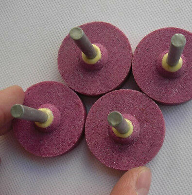 5Pcs 40mm Red Grinding Mounted Stone Abrasive Wheel  For Rotary Tools 6mm Shank