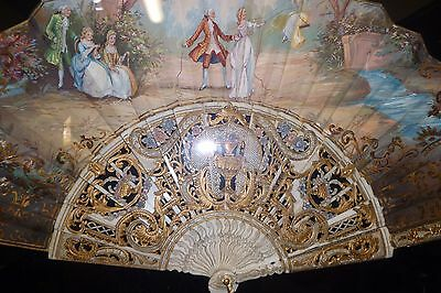 French 18TH LOUIS XV Hand Painted Carved Scene Hand Fan By J.Sanchis Framed