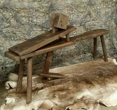 RARE Late 1800s all wood hand made shaving draw horse