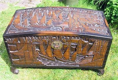 Large Oriental Chinese Heavily Carved Camphor Wood Blanket Box Chest Trunk