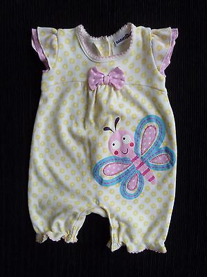 Baby clothes GIRL newborn 0-1m white/yellow/pink butterfly dress-style romper SS