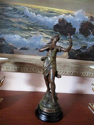 """ANTIQUE FRENCH ART NOUVEAU SUPERB SPELTER STATUE """"COQUETTERIE"""" by MONICA, SIGNED"""