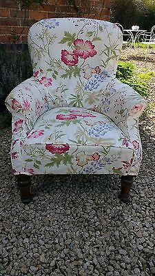 Lovely 19th Century Mahogany Upholstered Chair with Floral Cover