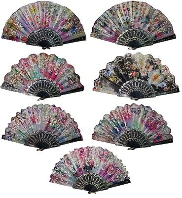 Spanish Party Dance Hand Fans Flowers Glitter Designs 6 Pc or 12 PcLot  (HFan11^