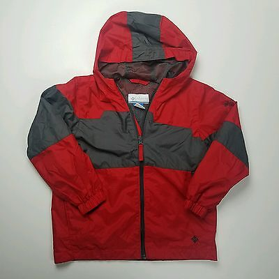 Columbia Youth Windbreaker Jacket Red Gray Hood Lined Size 6/7