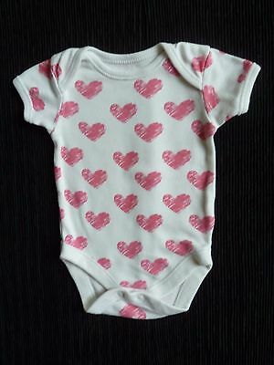 Baby clothes GIRL newborn 0-1m white/pink hearts cotton bodysuit COMBINE POST!