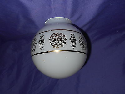 "Vintage Round White Glass W/ Gold Art Deco Light Globe Shade 3 1/8"" Fitter Exc"